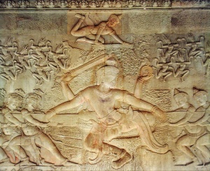 A relief at Angkor Wat depicting the tug-of-war with the Apsaras emerging from the foam.