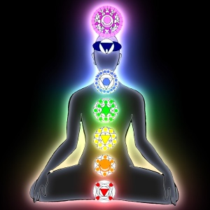 The seven chakras and their locations along the spine.